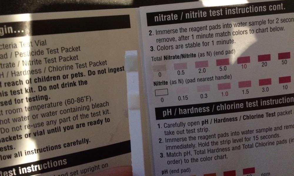 Water nitrate nitrite test