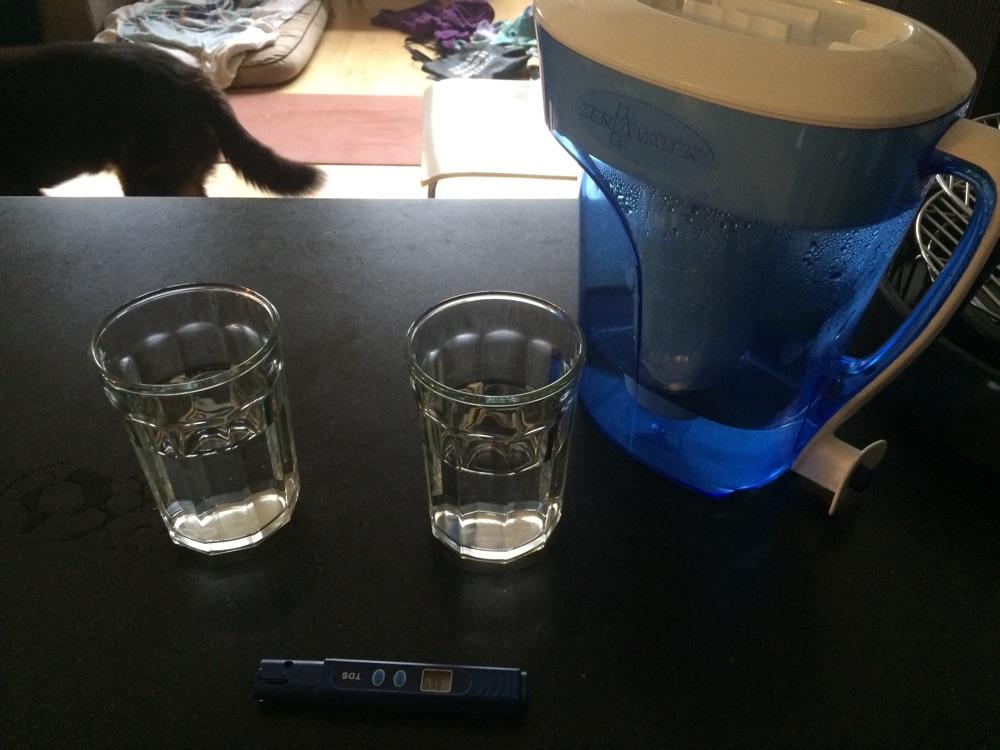 Zero water vs. tap water testing